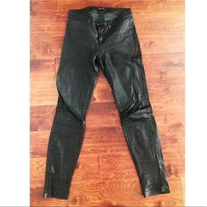 Black genuine leather 5 pocket leggings